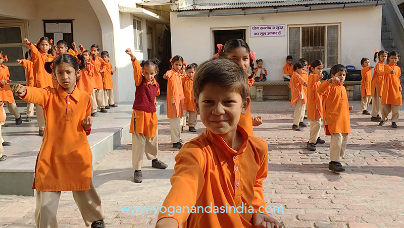 Taekwondo class. The ashram school teaches 150 children from poor families.