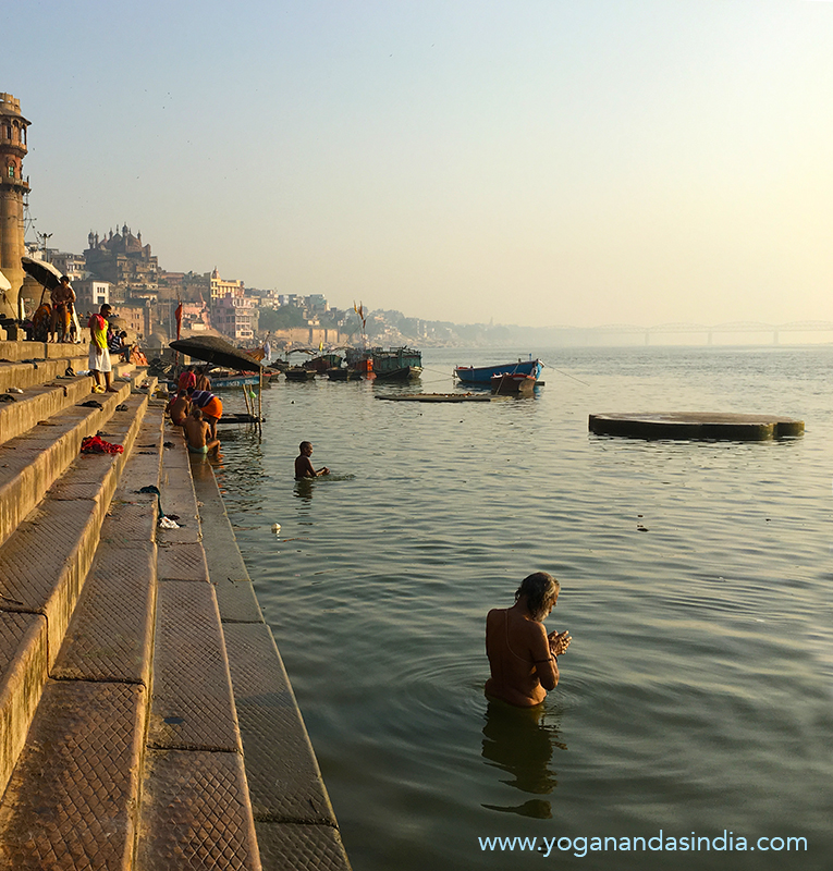 In his boyhood the athletic Shyamacharan Lahiri used to swim to a distant ghat and back again against the strong current of the rainy season. On this picture a devotee of God is seen doing his ablutions and prayer offerings in the holy river. Varanasi has always attracted a large number of pilgrims and worshippers from time immemorial. The number of temples in the city is estimated at 23,000.