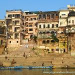 Riverside view of Chausatti ghat where Lahiri Mahasaya used to take his sacred bath in the Ganges. The arch, entrance to the lane to his home, is seen at the top of the steps toward the left of the picture.