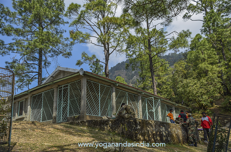 This building near the cave was built by YSS as a resting point on the trail and shrine to Babaji.