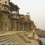 View of Ranamahal ghat from Chausatti ghat. Sri Yukteswarji chose this beautiful place close to his guru's house to be his home when he would stay in Varanasi for three months every year. He created a hermitage here, Pranab Ashram.  While visiting he would conduct spiritual and astrological discussions and conferences, and visit his aging mother who had moved, like many elderly folks, to live out her final days in this sacred city. She too lived in the rented rooms he kept in Rana Mahal.