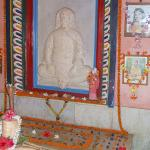 Sri Yukteswar's samadhi (tomb) inside of the temple. Sri Yukteswarji consciously left his physical body in Puri ashram on March 9, 1936, while his dearest disciple, Paramahansa Yogananda was traveling in India. Heartbroken, Yoganandaji conducted the ancient burial rites for his beloved guru. Sriyukteswarji's body, still seated in lotus posture, was lowered into the crypt, facing the holy Jagannath Temple.