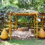 One of many places to relax and enjoy the extensive well-kept gardens at the Yogoda Ashram.