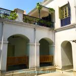 """The courtyard in the center of Uncle Sarada's home. Yogananda's room is through the doorway on the far right. This is where the scene with Sri Yukteswar was filmed in the movie """"Awake."""" He was seen walking on the balcony in the upper left."""
